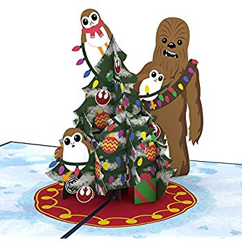 Star Wars Chewie & Porgs Christmas Pop Up Card.