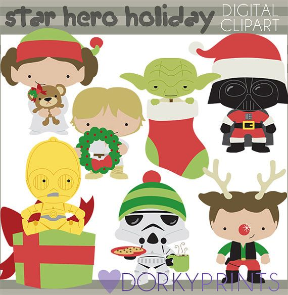 Star Heroes Christmas Clipart Set.
