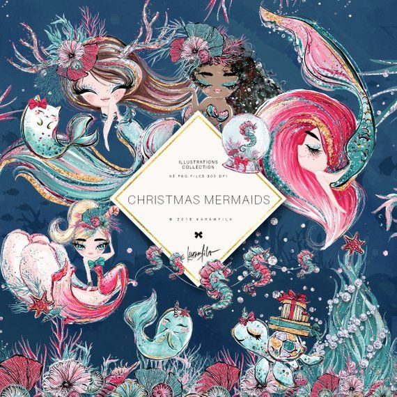 Christmas Mermaid Clipart Unicorn Clipart Underwater Clipart.