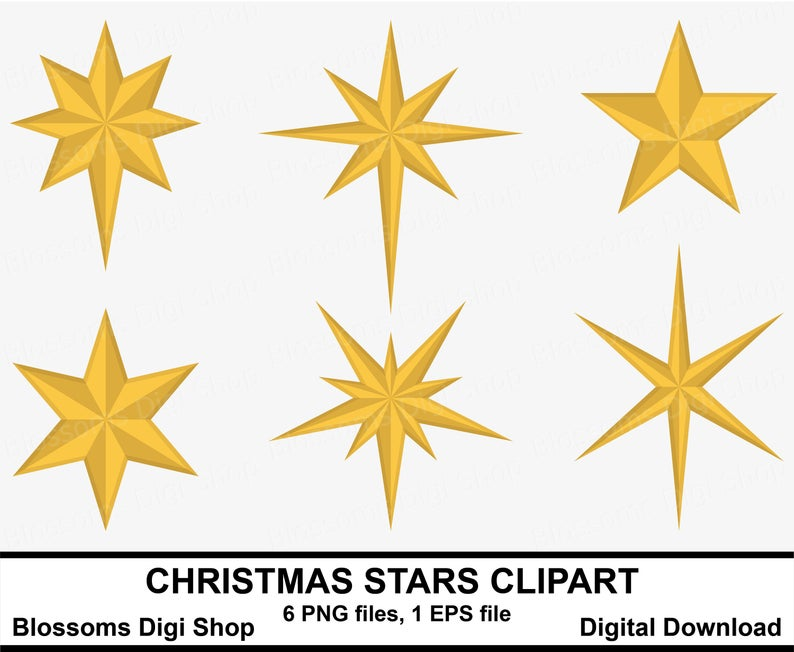 Christmas stars clipart, gold star clipart, star elements, star vector,  star graphic, christmas tree star, xmas star, star eps, star png.