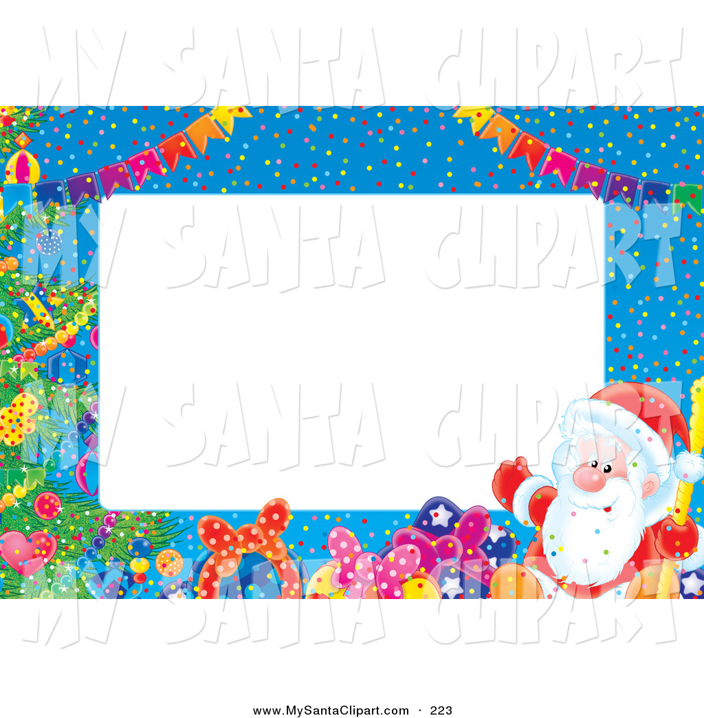 Christmas Clip Art of a Festive Stationery Border of Banners.