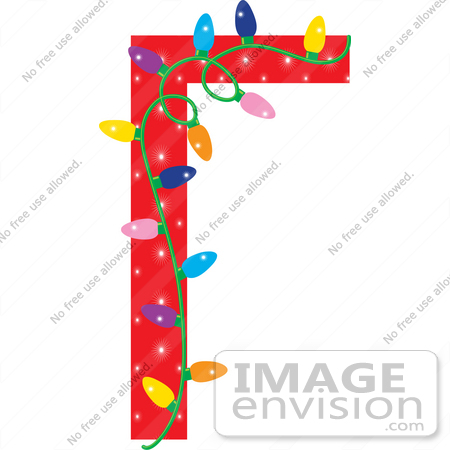 Christmas Clipart Of A Red Stationery Border With Colorful Lights.