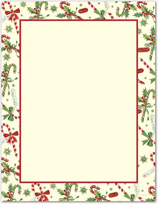 Candy Cane Holly Letterhead Christmas Stationery.