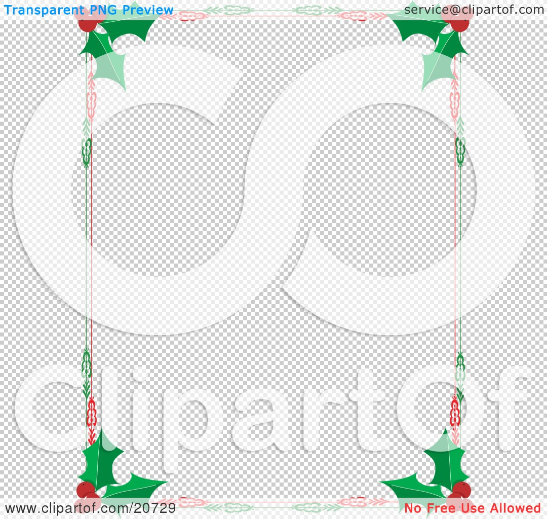 Clipart Illustration of a Christmas Stationery Border Of Red.
