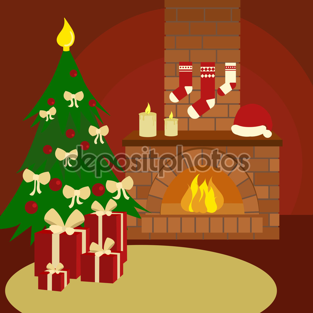 Christmas still life cartoon vector illustration — Stock Vector.