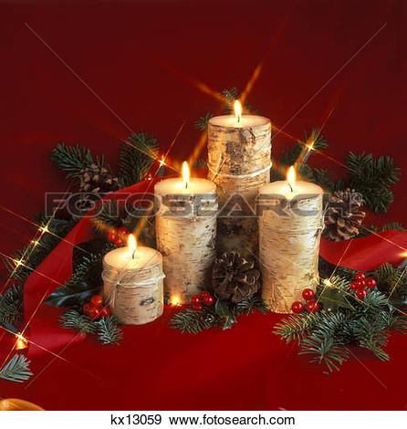 Stock Photograph of 2000S Christmas Still Life With Bark Covered.