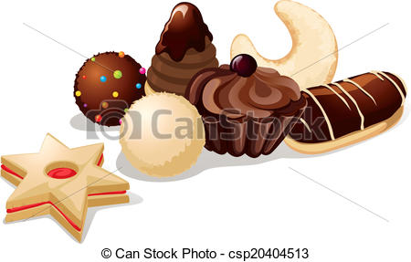 Vector Clip Art of still life with christmas cookies.