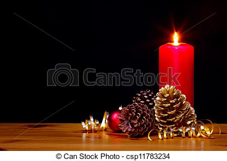 Stock Photos of Christmas candle still life.