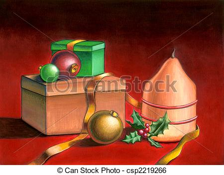 Stock Illustration of Christmas still life.
