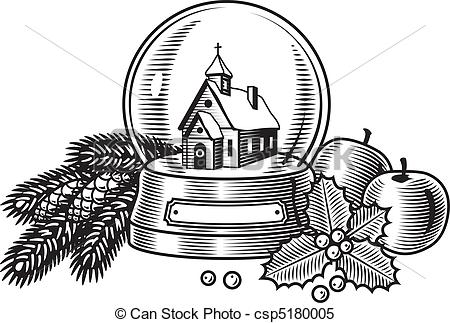 Clipart Vector of Christmas still life black & white.