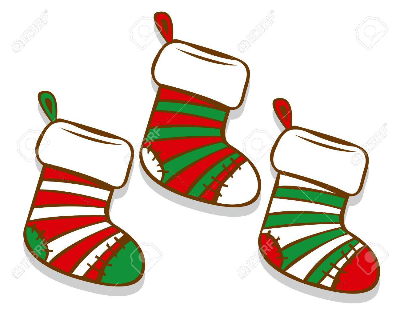 Vector Cartoon Christmas Socks Isolated On White Background.