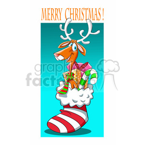 merry christmas stocking and reindeer cartoon clipart. Royalty.
