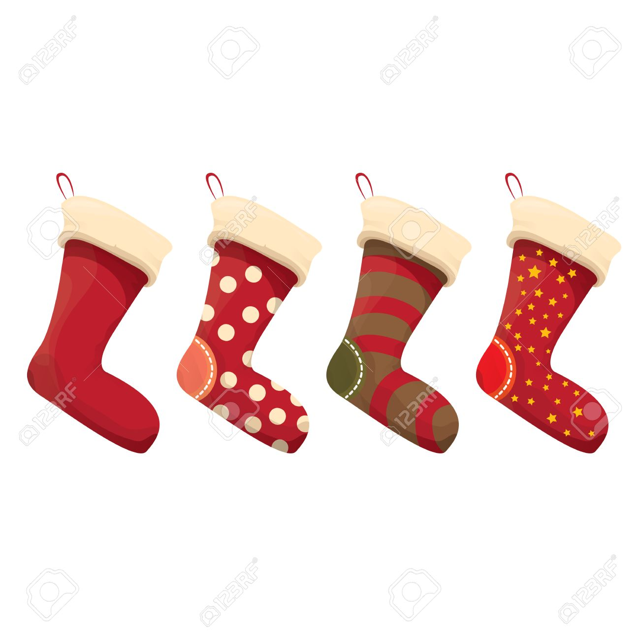 cartoon cute christmas stocking with color ornament isolated...