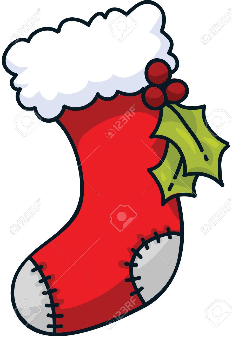 A cartoon Christmas stocking..