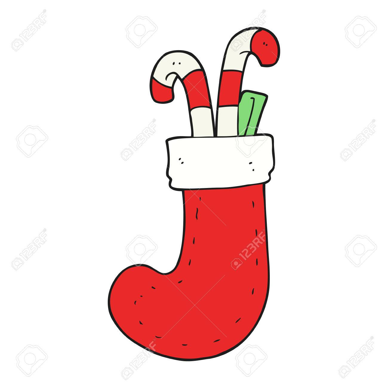 freehand drawn cartoon christmas stocking.