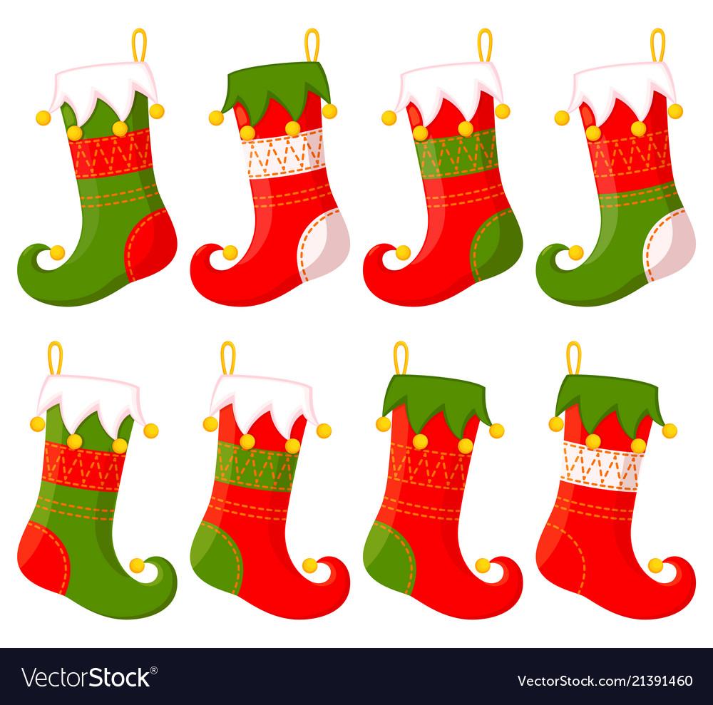 Colorful cartoon christmas stocking set.