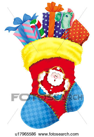 Christmas Stocking Stuffed With Gifts Clip Art.