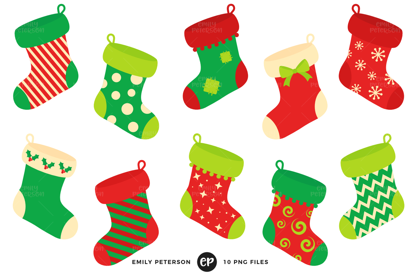 Christmas Stockings Clipart By Emily Peterson Studio.