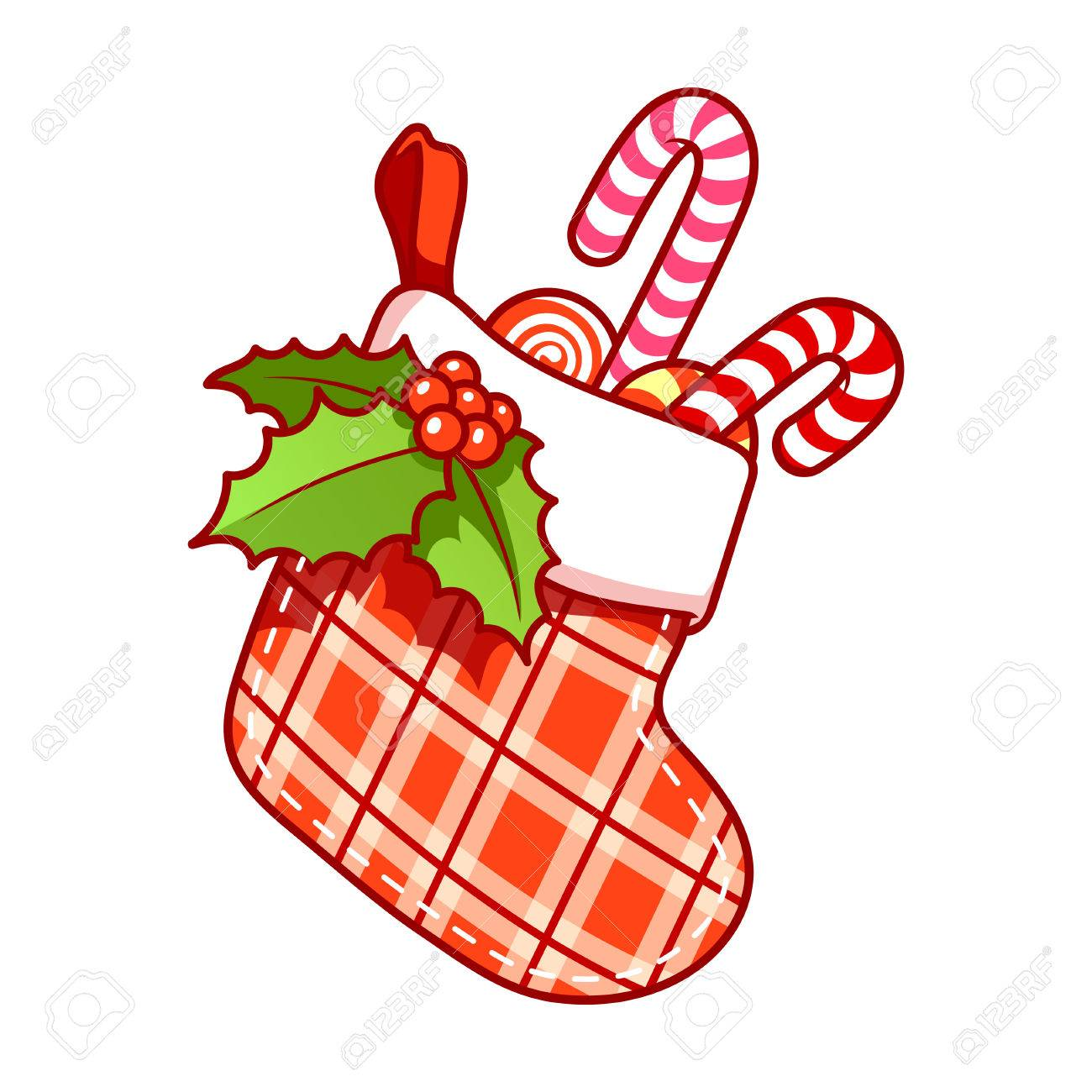 Christmas stocking with candy on white background. clip.