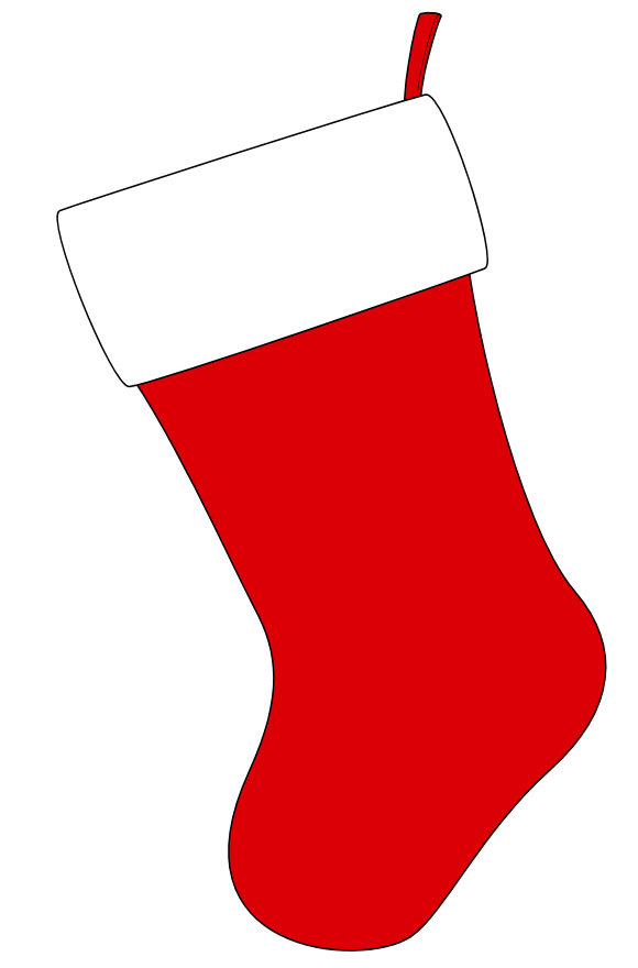 Christmas Stocking Black And White Clipart.