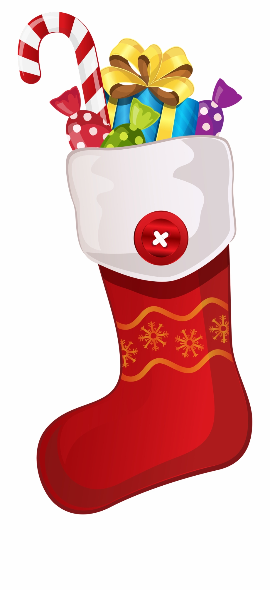 Red Christmas Stocking With Candy Cane Png Clipart.