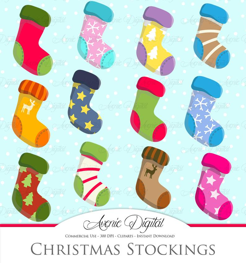 Christmas Stockings Clipart Scrapbook printables, holiday clip art set for  Commercial Use. Socks Stocking vectors graphics.