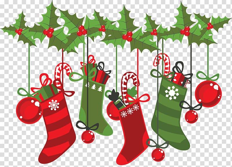 Red and white Christmas socks , Christmas decoration Christmas ings.
