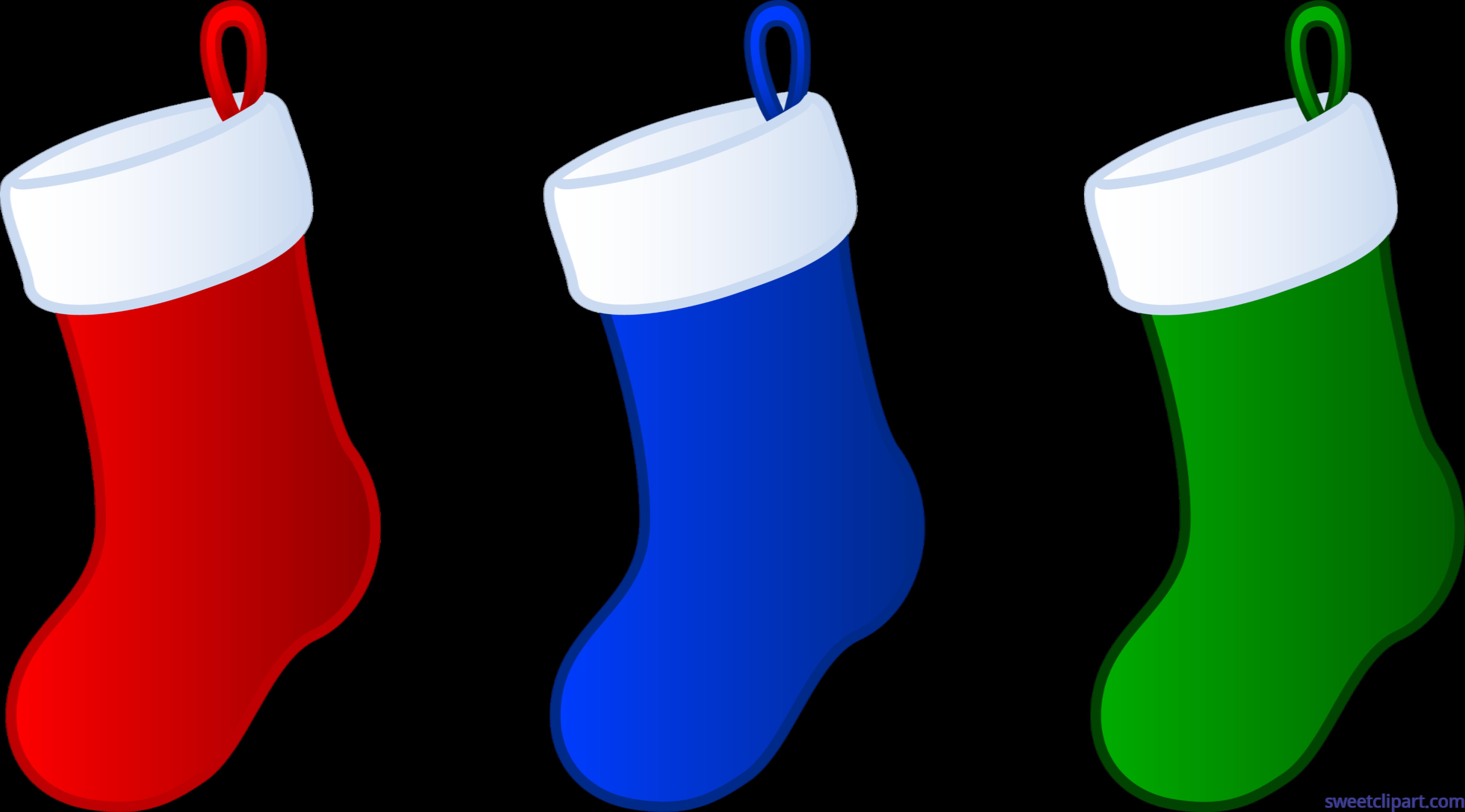 Three Christmas Stockings Clip Art.