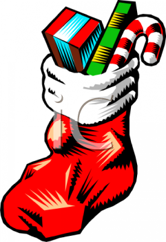 Christmas Stocking With Toys Clipart.