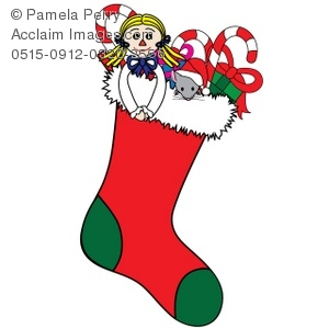 Clip Art Illustration of a Christmas Stocking Filled With Toys and.