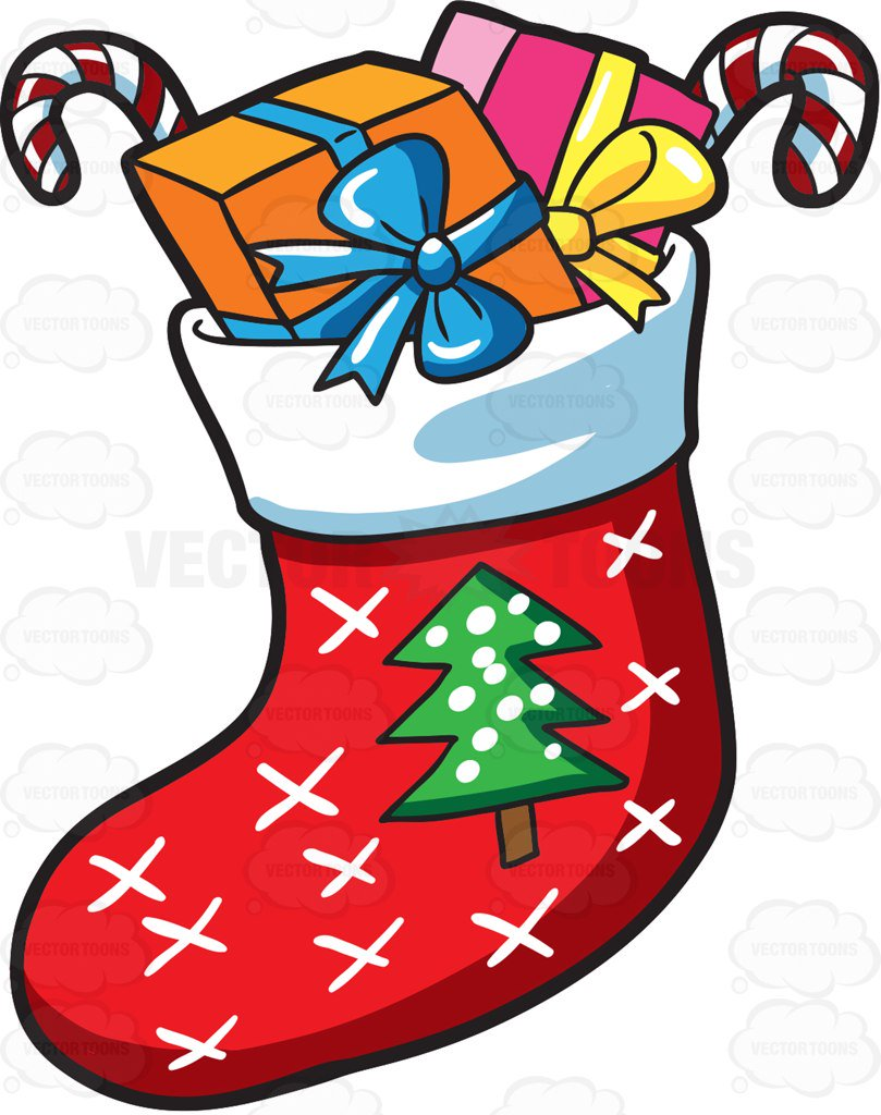 Christmas Stocking Cartoon Clipart.