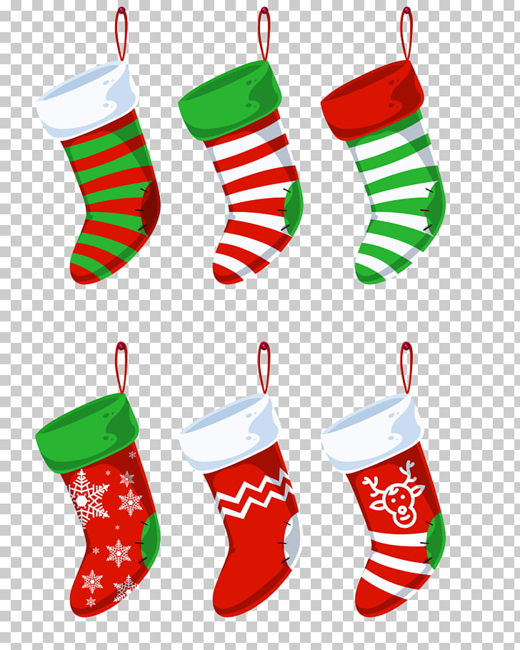 Colored Christmas stockings PNG clipart.