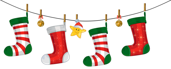 Transparent Christmas Stockings Decoration PNG Clipart.