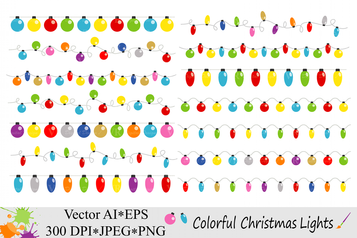 Colorful Christmas String Lights Clipart.