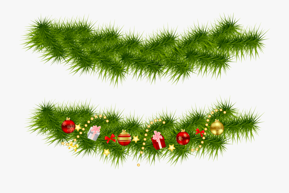 Transparent Background Christmas Garland Clipart.