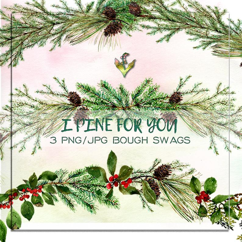 Pine Swag, pine bough, Christmas clipart, handpainted clipart, woodland  clipart, watercolor clipart, clipart swag, pinecone clipart.