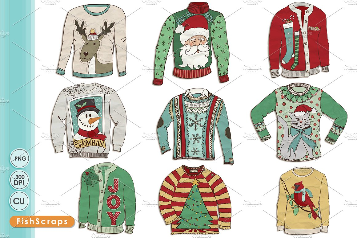 Ugly Christmas Sweater Clip Art ~ Illustrations on Creative Market.