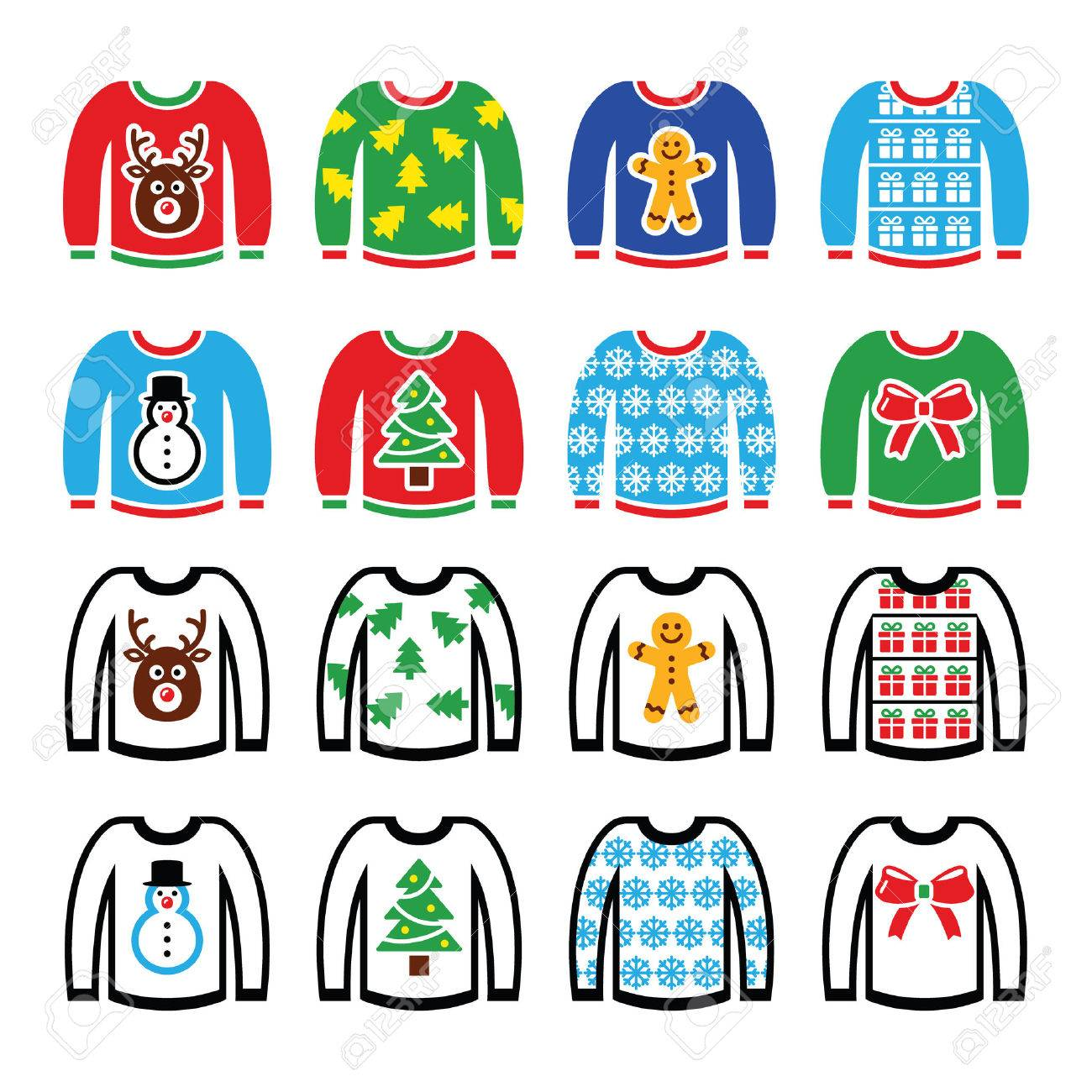 Ugly Christmas sweater on jumper icons set.