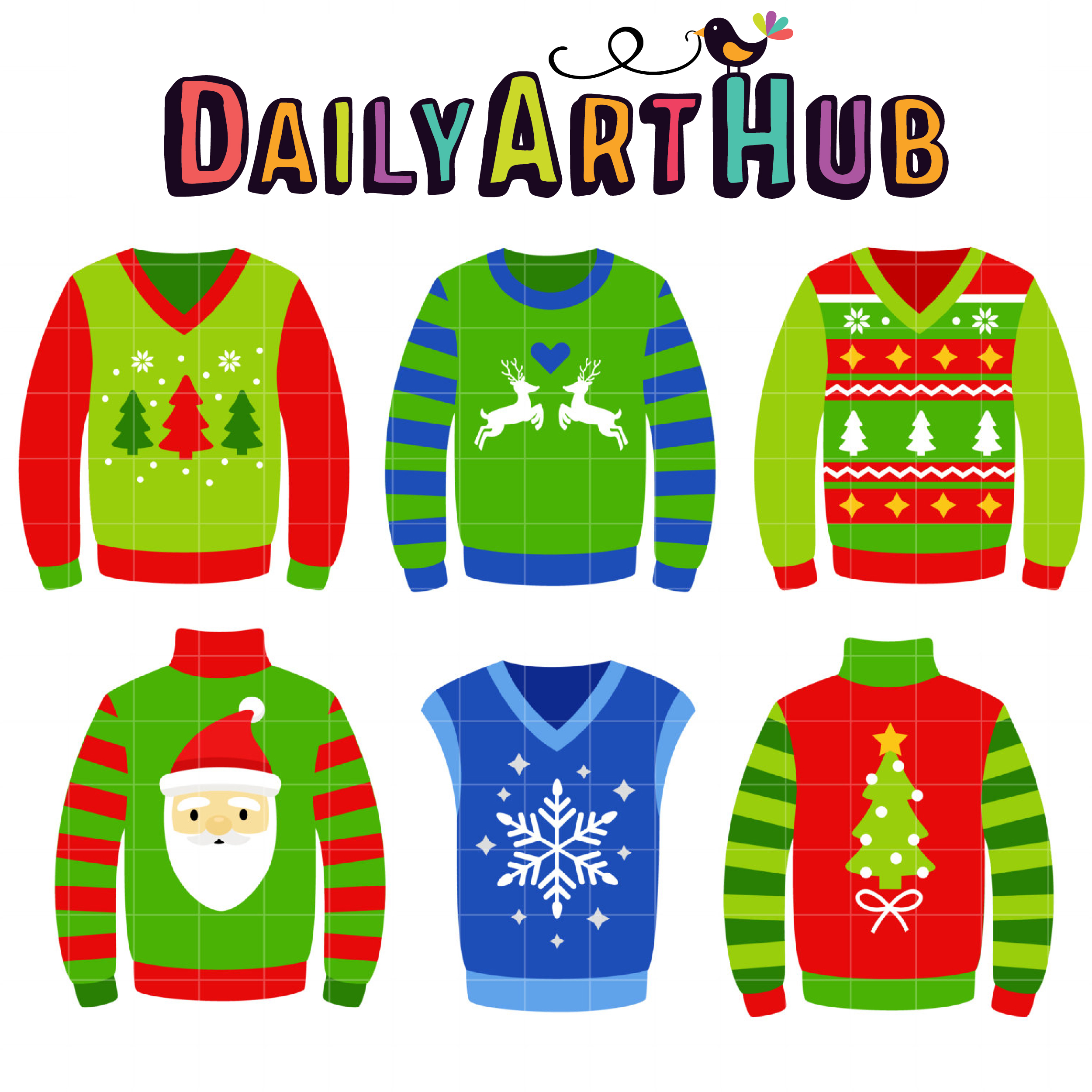 Ugly Christmas Sweaters Clip Art Set.