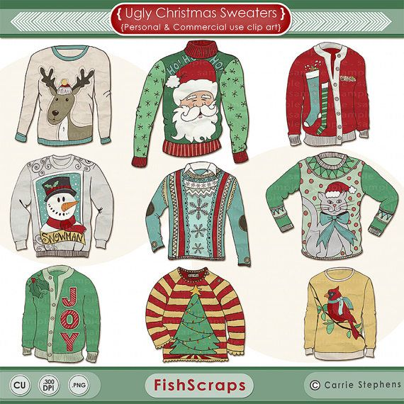 Ugly Sweater ClipArt, Christmas ClipArt, Funny Christmas, DIY.