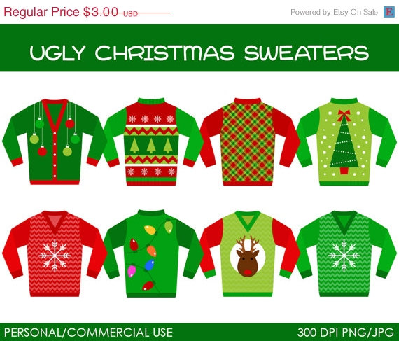 SALE Ugly Christmas Sweaters Clipart Digital by MareeTruelove.
