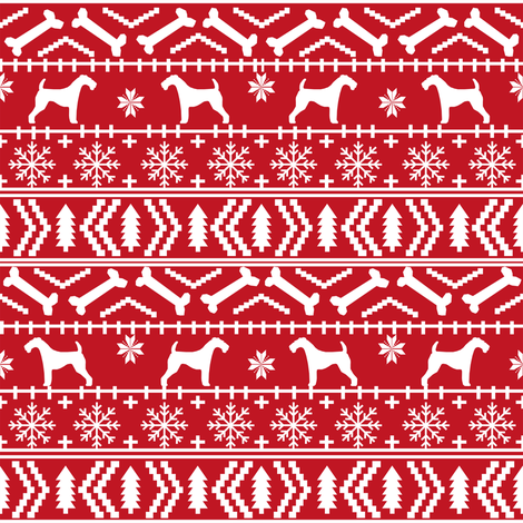 Airedale Terrier Dog fair isle christmas sweater pattern print red.