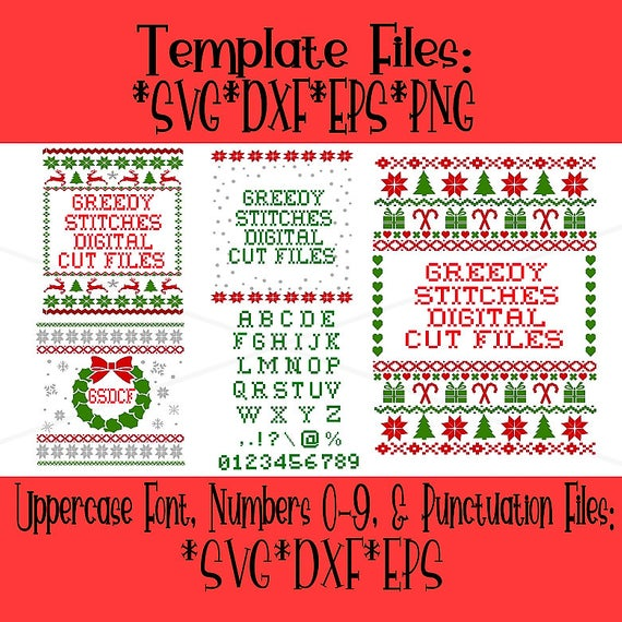 Ugly Christmas Sweater Template Bundle svg, dxf, eps, png. Christmas DxF.