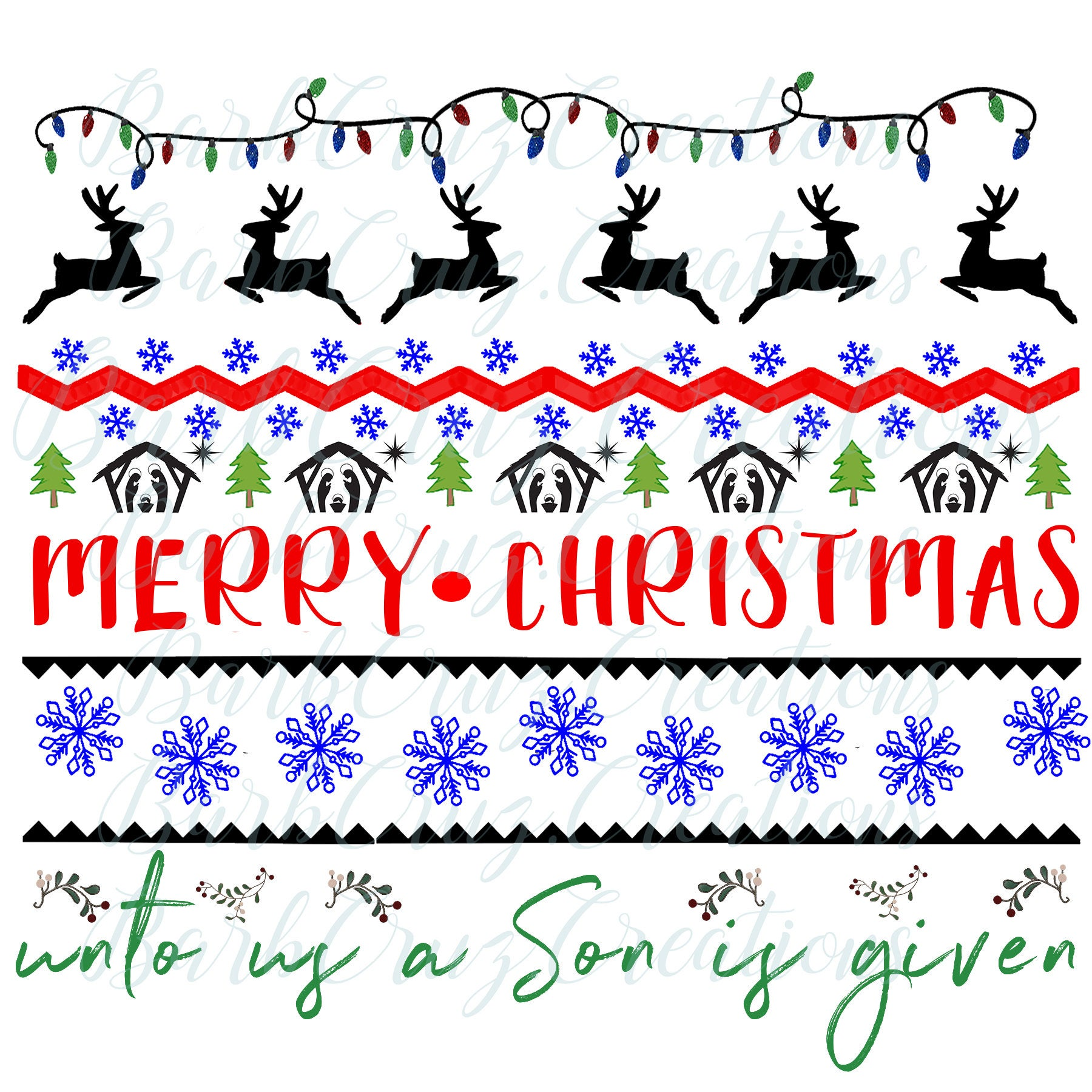 Christmas Sweater Pattern PNG / SVG.