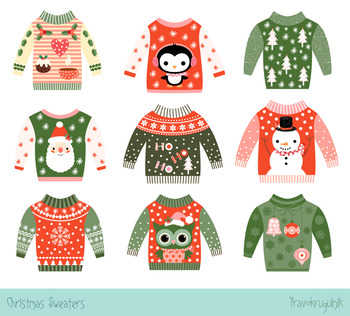 Ugly Christmas sweaters clipart set, Cute party holiday sweaters clip art.