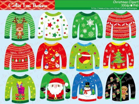 Ugly Christmas Sweaters Clipart for Personal and Commercial Use.