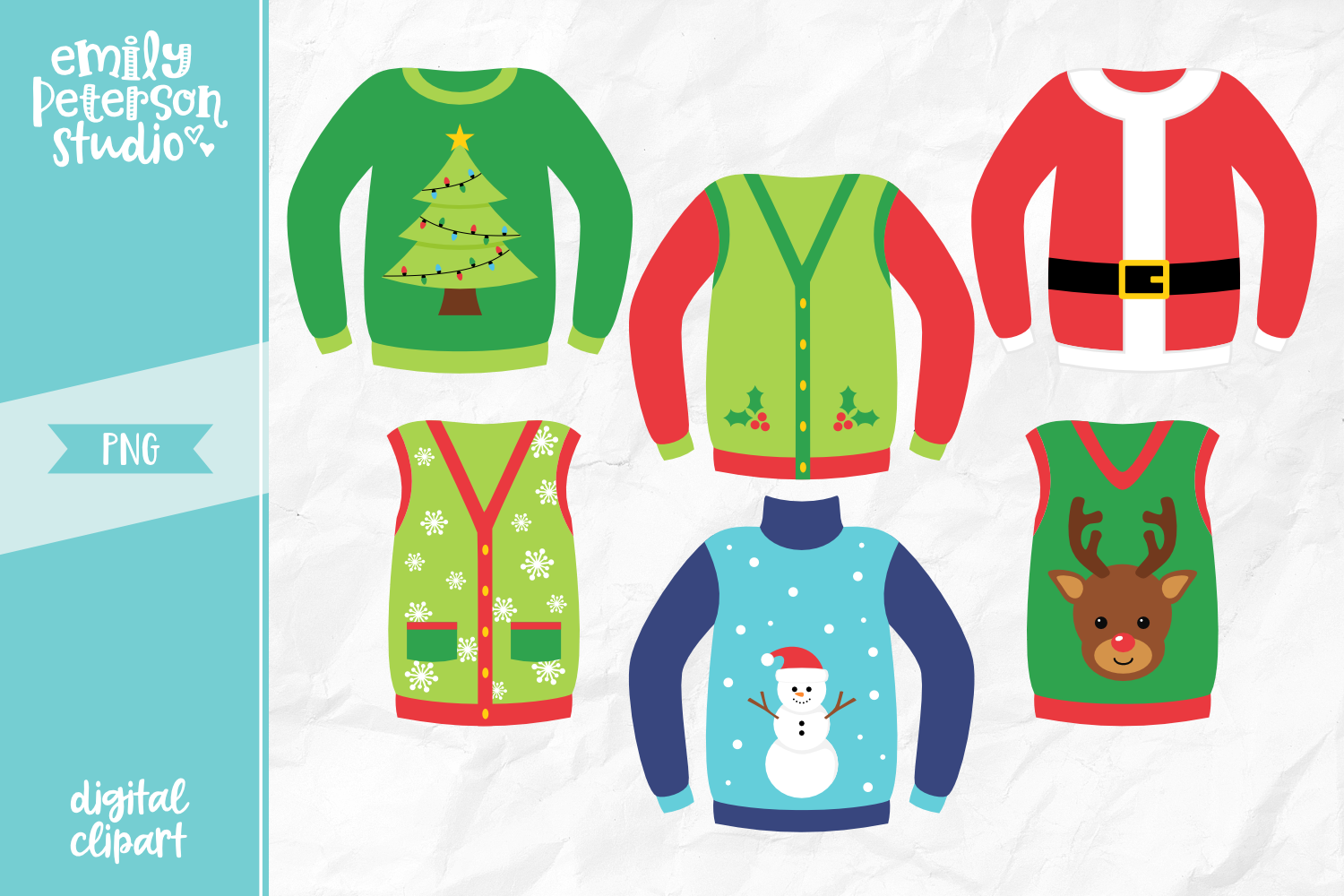Ugly Christmas Sweaters Clipart Illustration PNG.