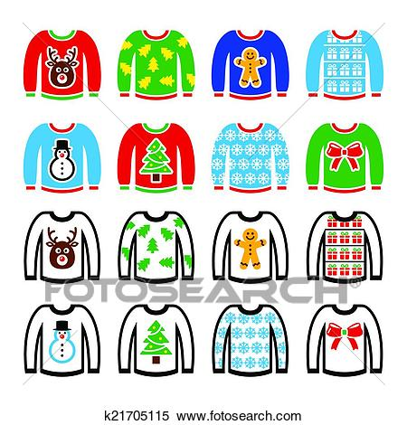Ugly Christmas sweater on jumper Clipart.
