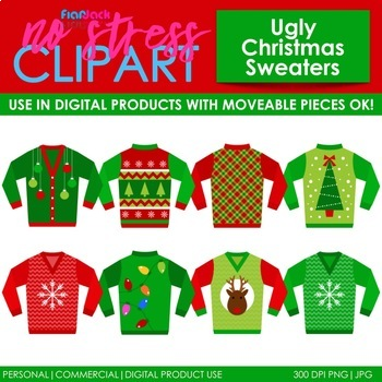 Ugly Christmas Sweaters Clip Art (Digital Use Ok!).