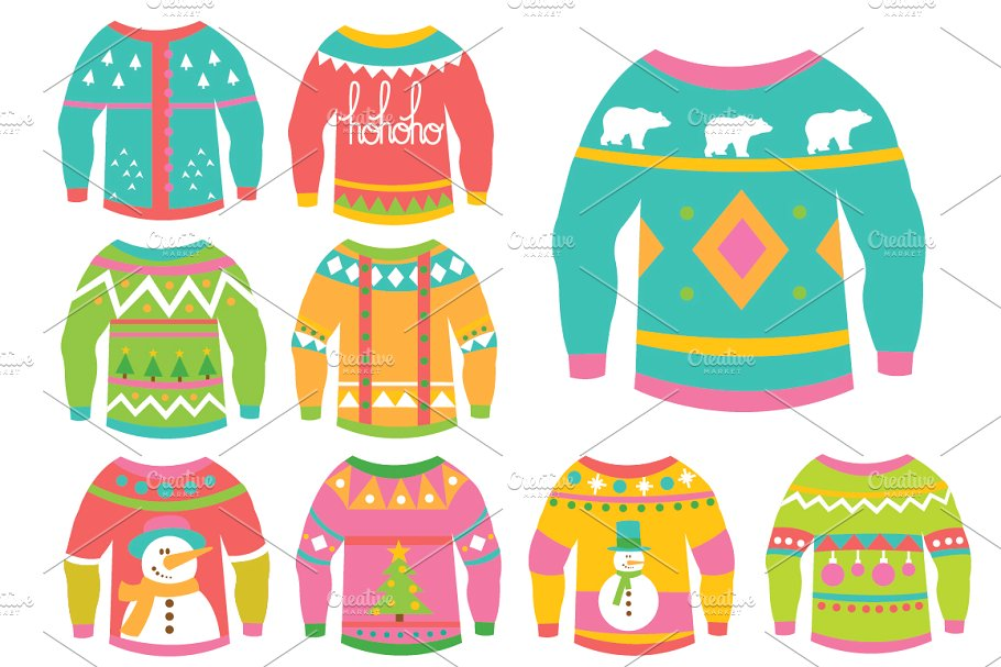 Christmas Ugly Sweaters Clipart.